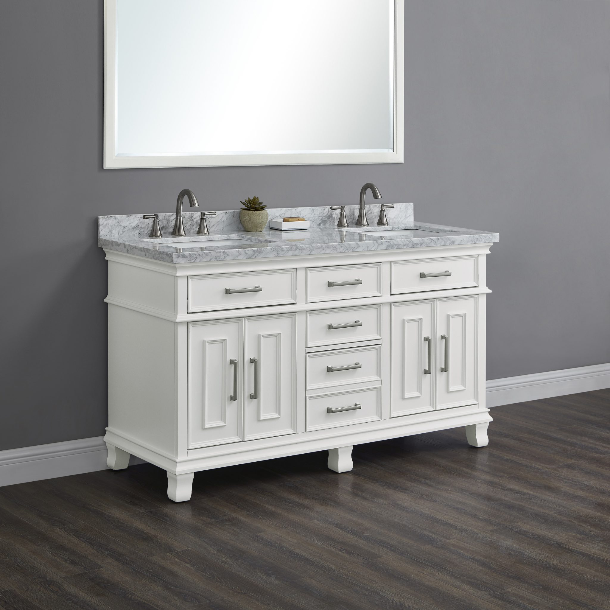 Brayden 60 White Double Sink Vanity Mission Hills Furniture