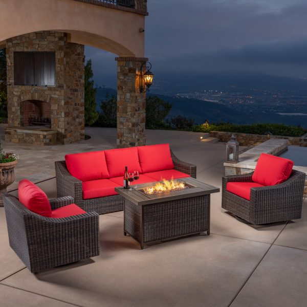 Brandemore 4pc Motion Fire Chat Set Red Mission Hills