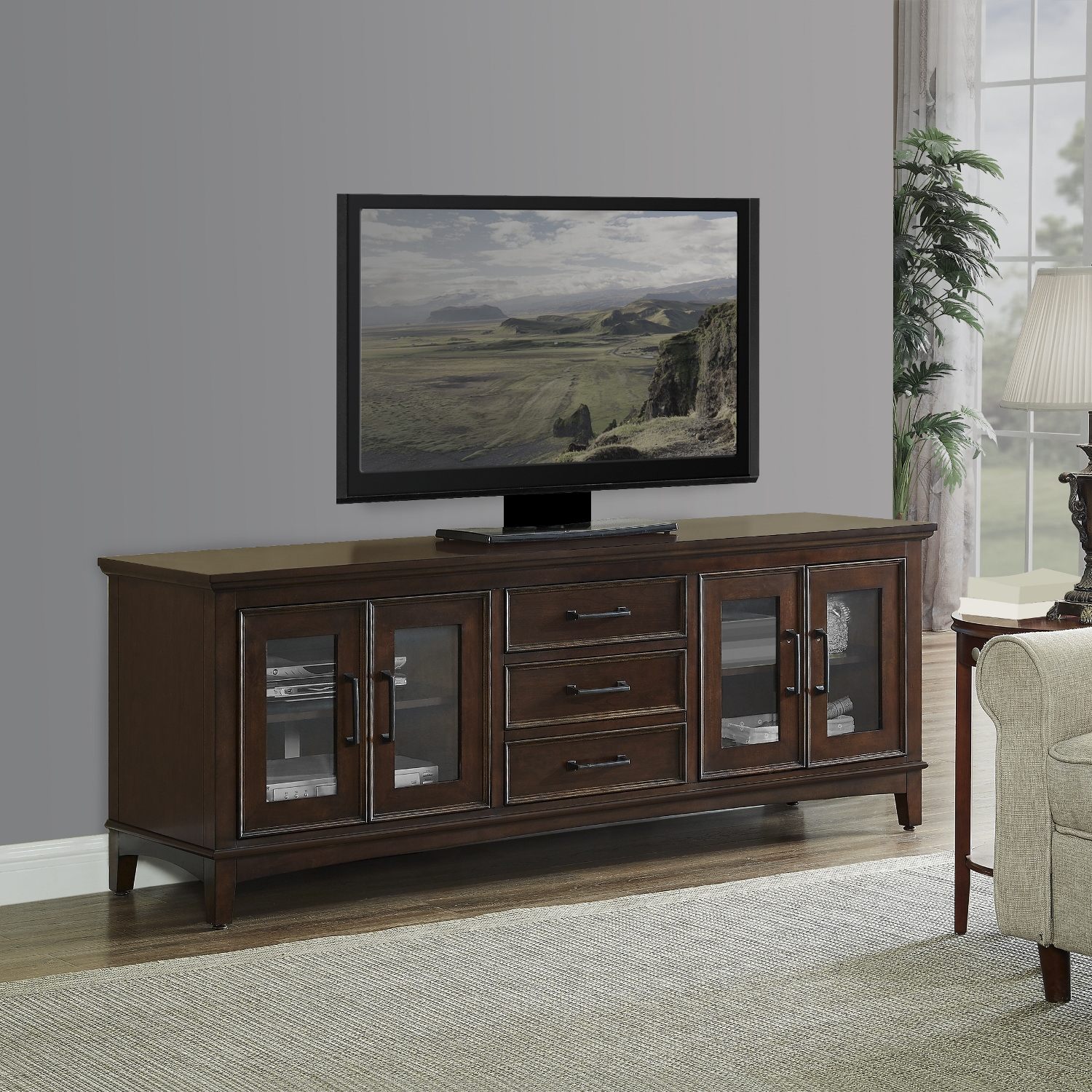 Cambridge 72u201d Brown Media Cabinet