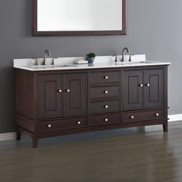 Cambridge 72 Espresso Brown Double Sink Vanity Mission Hills Furniture