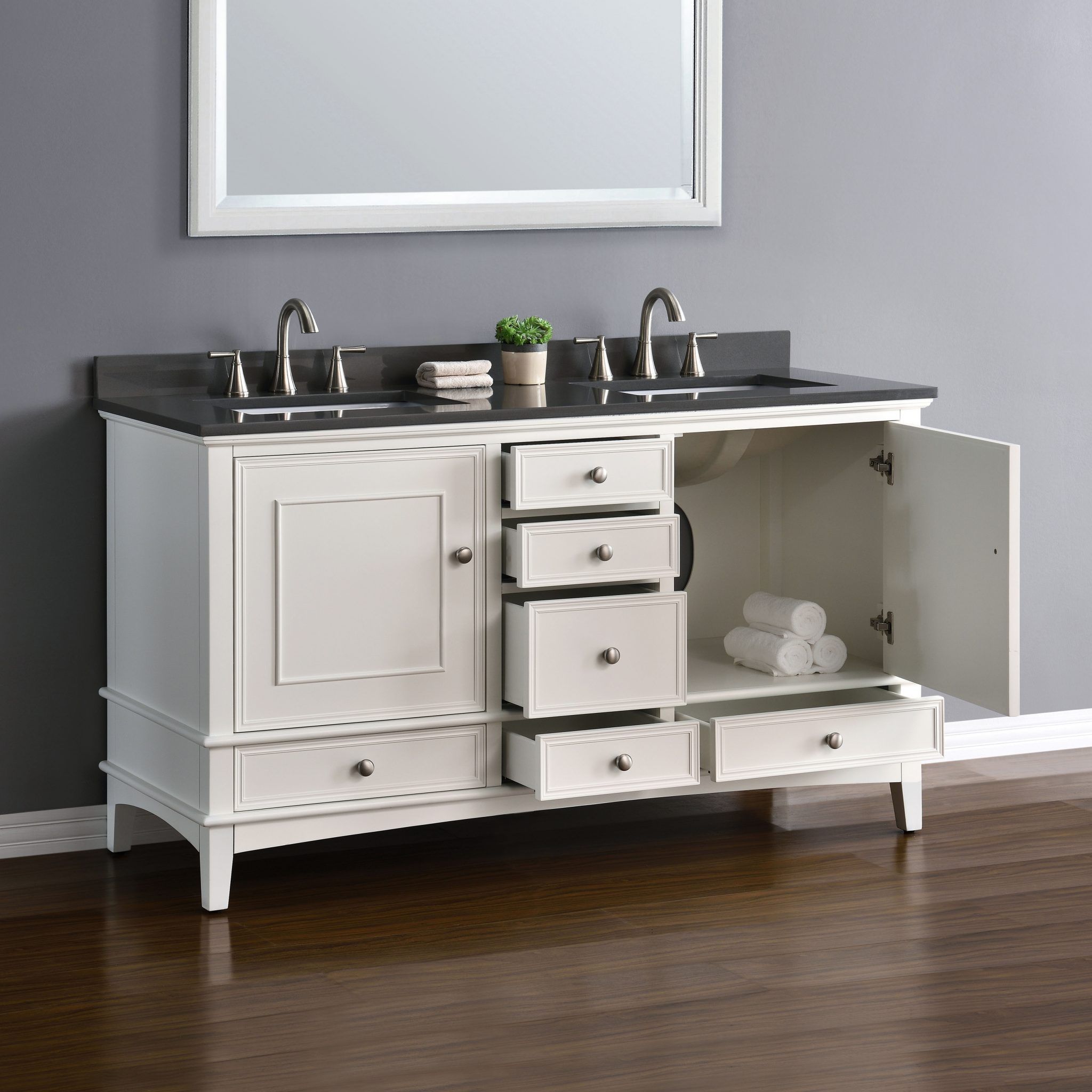 Quartz 60 Bathroom Vanity White Cabinet Double Sink Basin Hardwood Gray Quartz Ebay