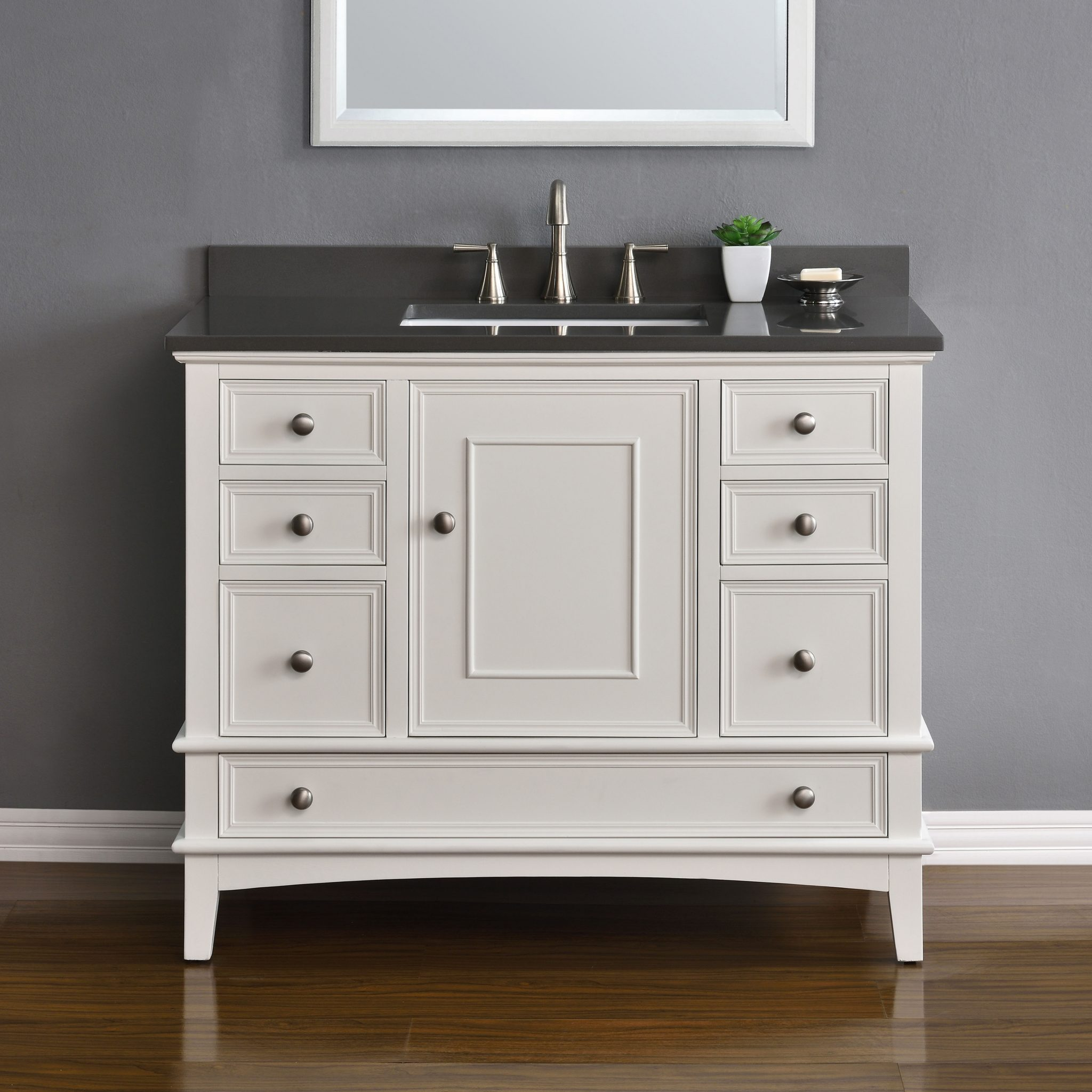 Cambridge 42 White Single Sink Vanity Mission Hills Furniture