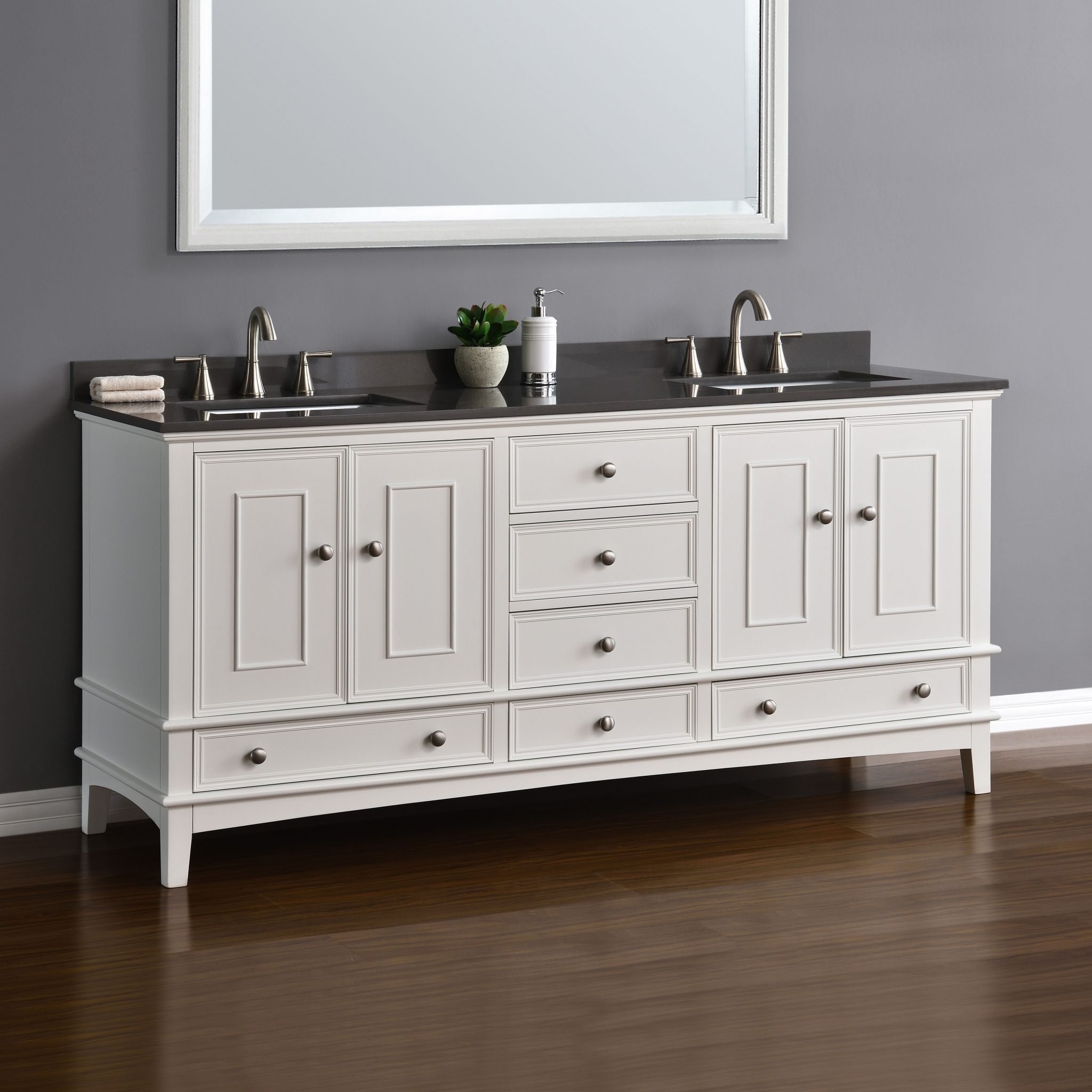 cambridge 72 white double sink vanity mission hills. Black Bedroom Furniture Sets. Home Design Ideas