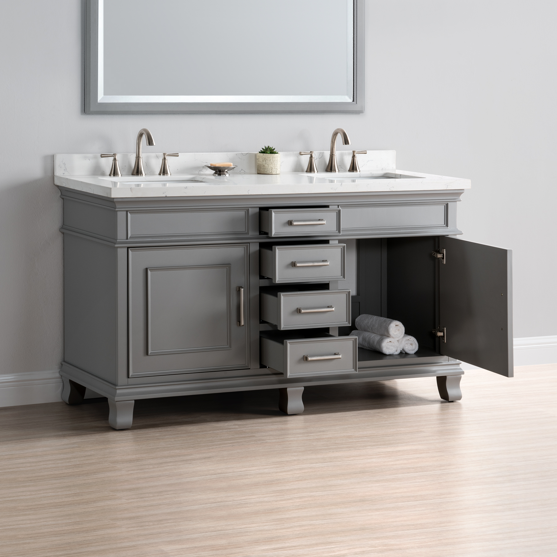 gray double sink vanity. charleston 60\u2033 double sink vanity gray