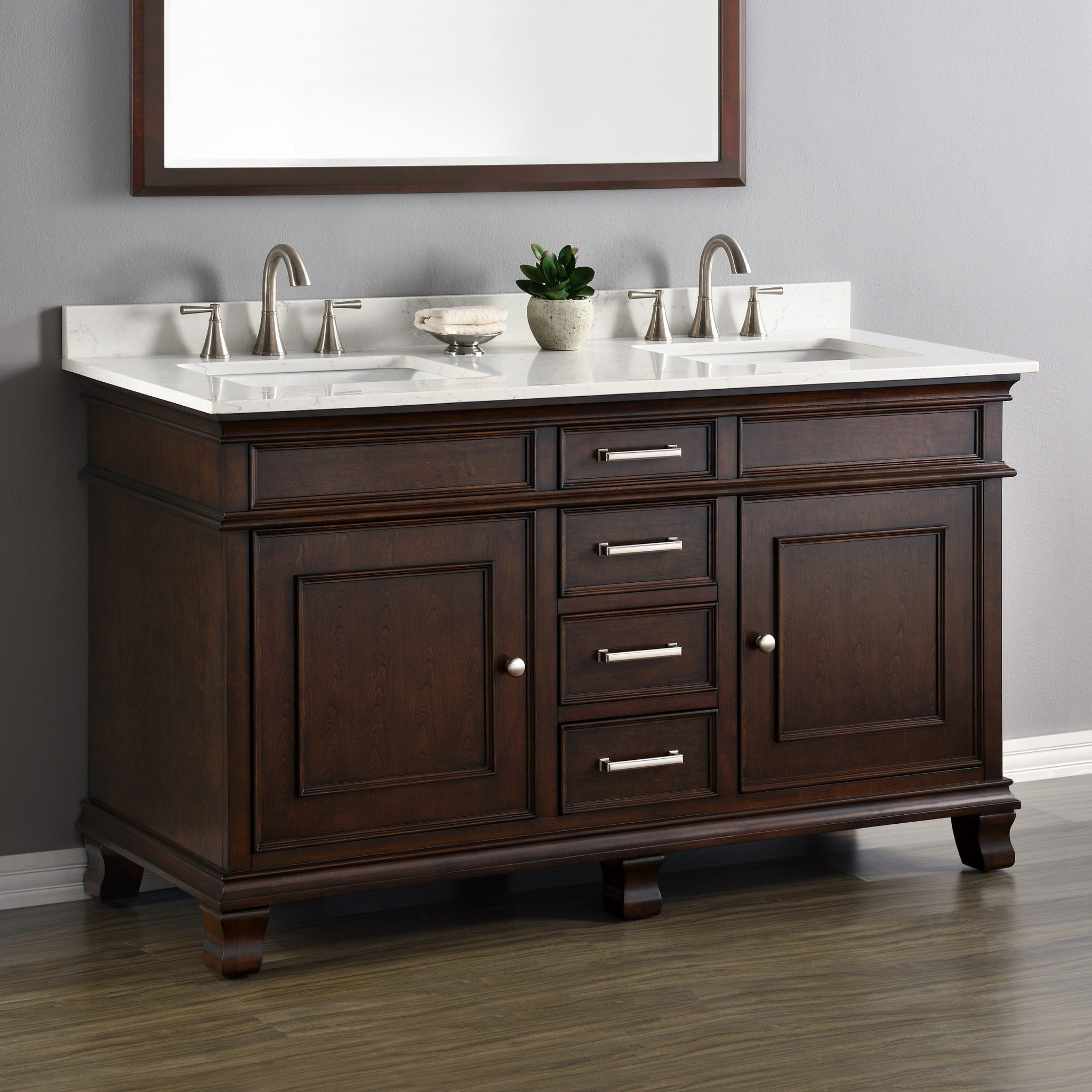 Camden 60 double sink vanity mission hills furniture for Pictures of bathrooms with double sinks