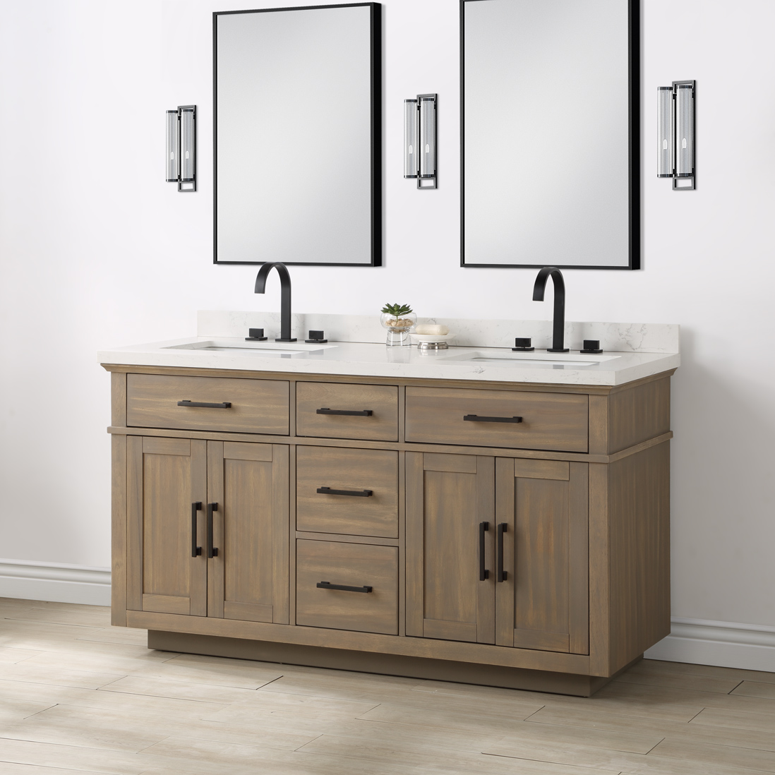 Alston 60 Natural Double Sink Vanity Mission Hills Furniture