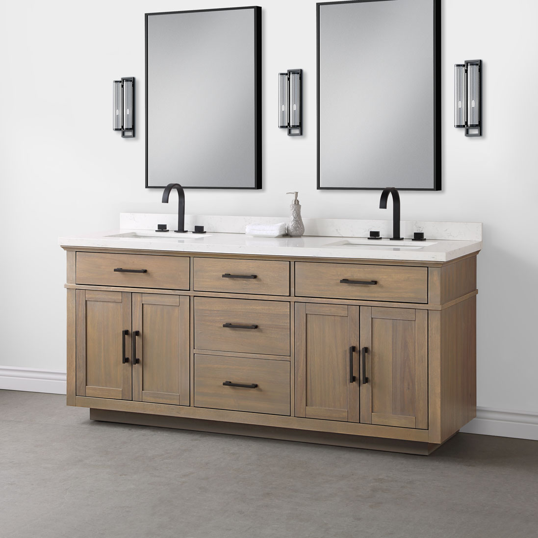 Alston 72 Natural Double Sink Vanity Mission Hills Furniture