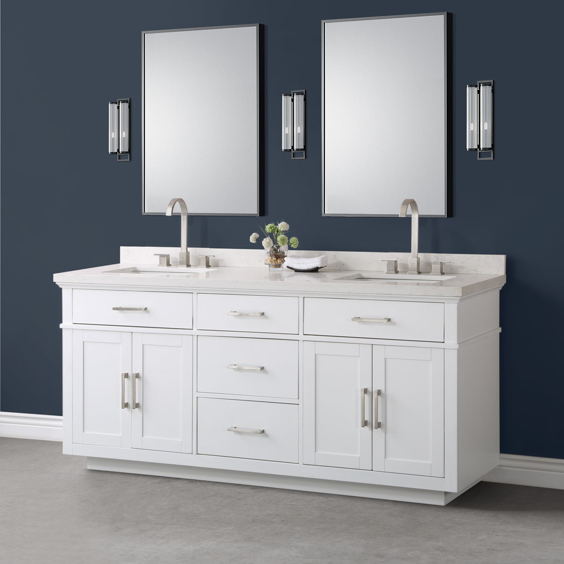 Alston 72 White Double Sink Vanity Mission Hills Furniture