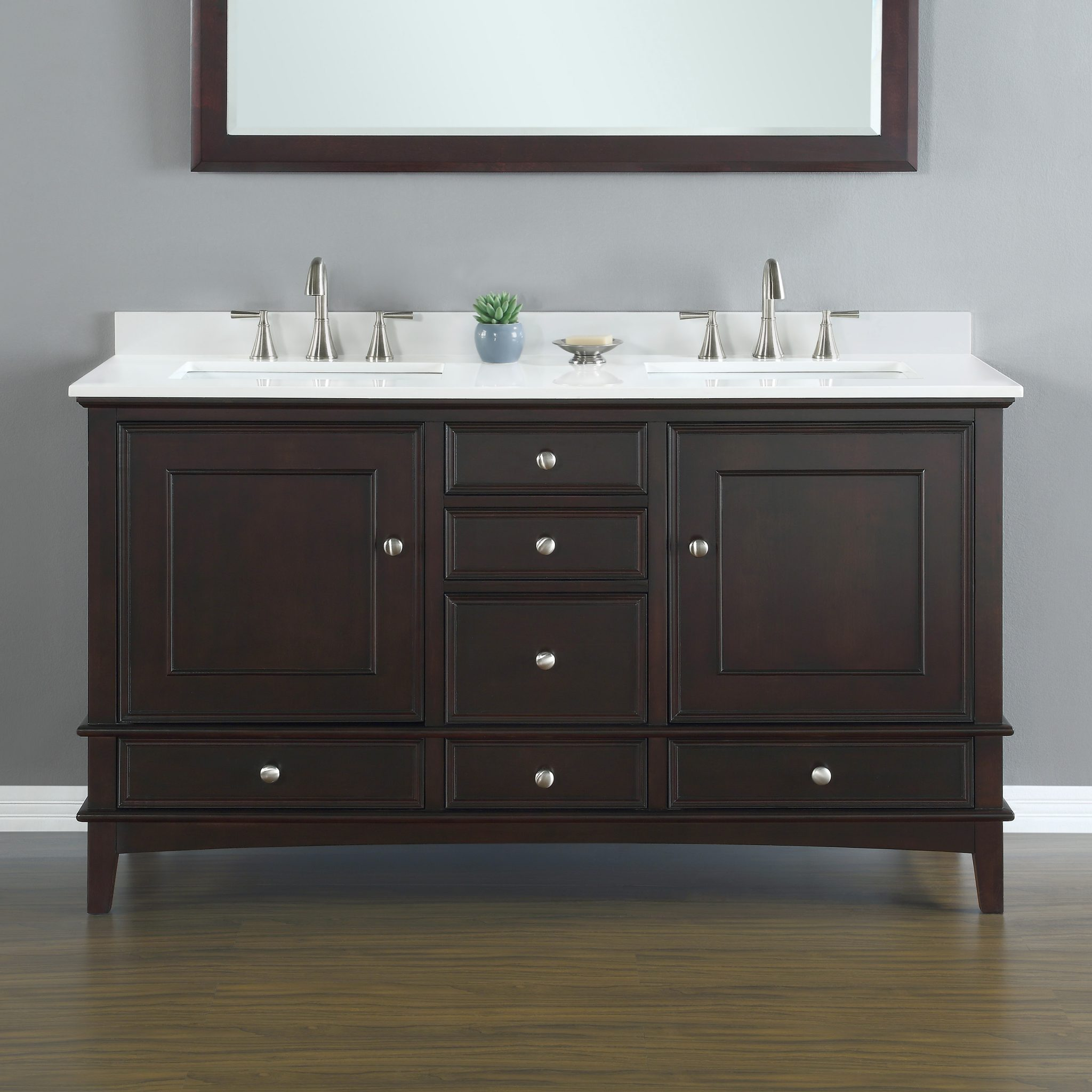 Cambridge 60 Quot Brown Double Sink Vanity Mission Hills