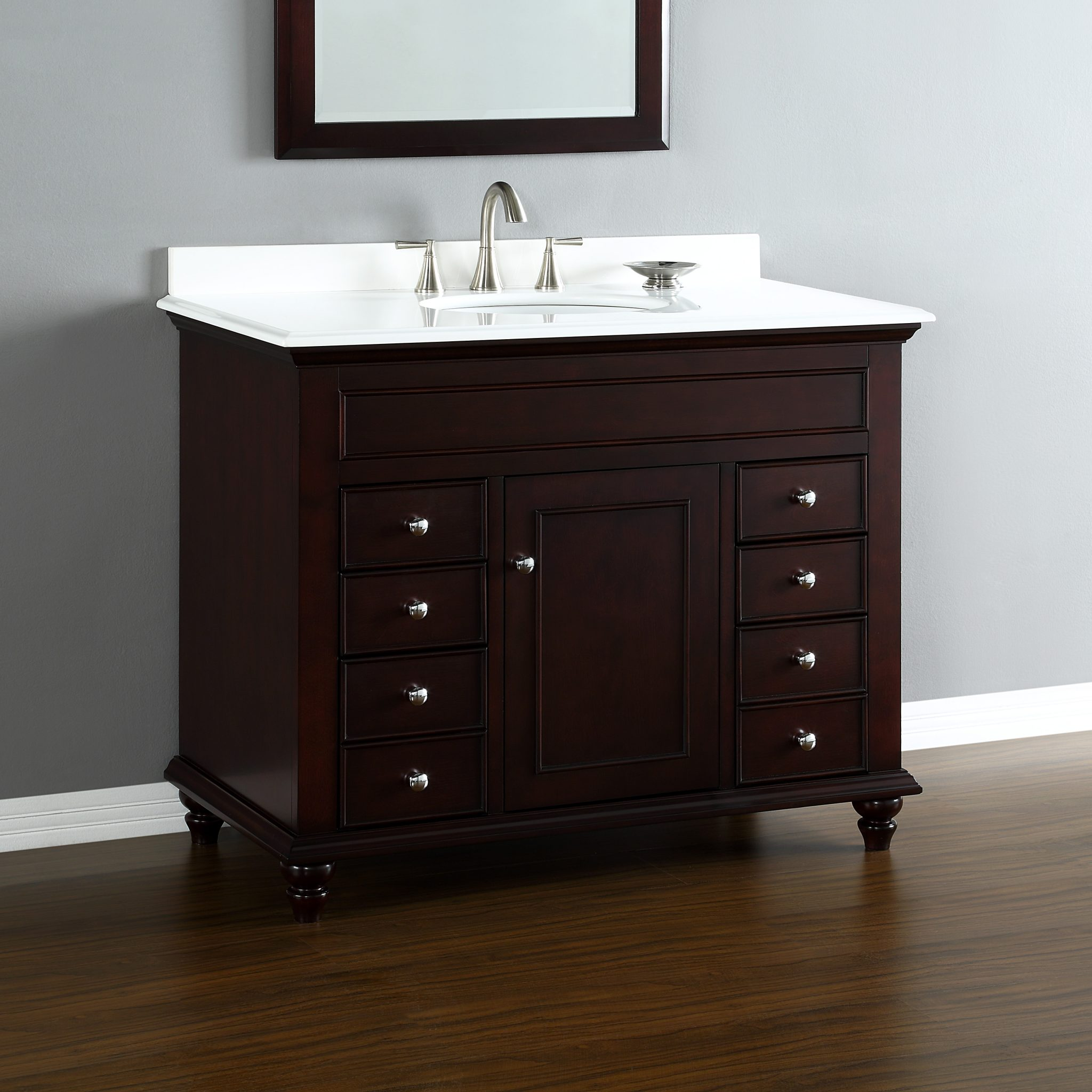 Mayfield 42 center sink vanity mission hills furniture for Bathroom vanity cabinets