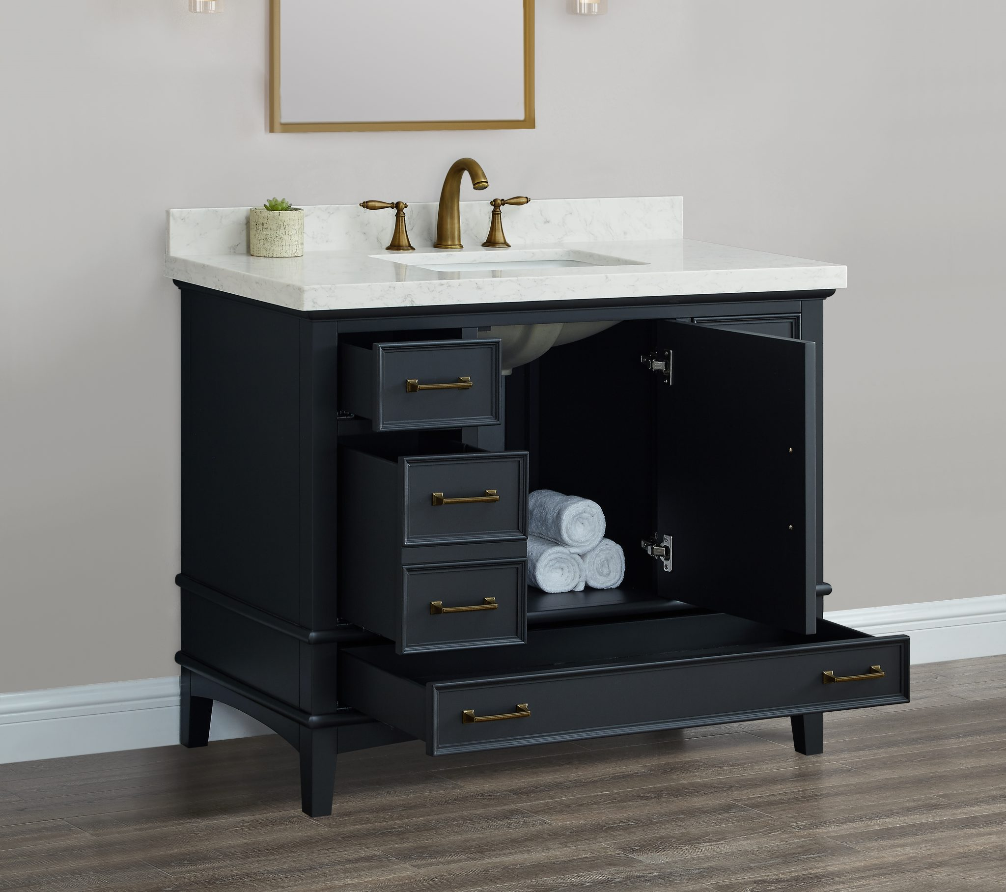 Parker 42 Midnight Single Sink Vanity Mission Hills Furniture