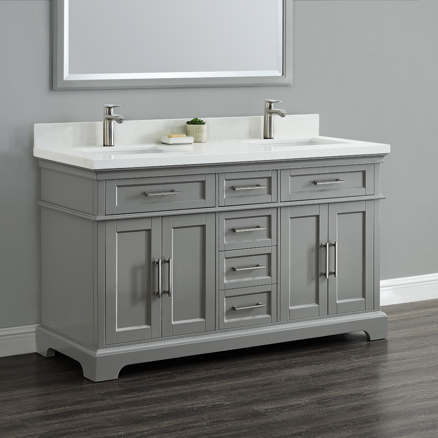 Cameron 60 double sink vanity mission hills furniture for Pictures of bathrooms with double sinks