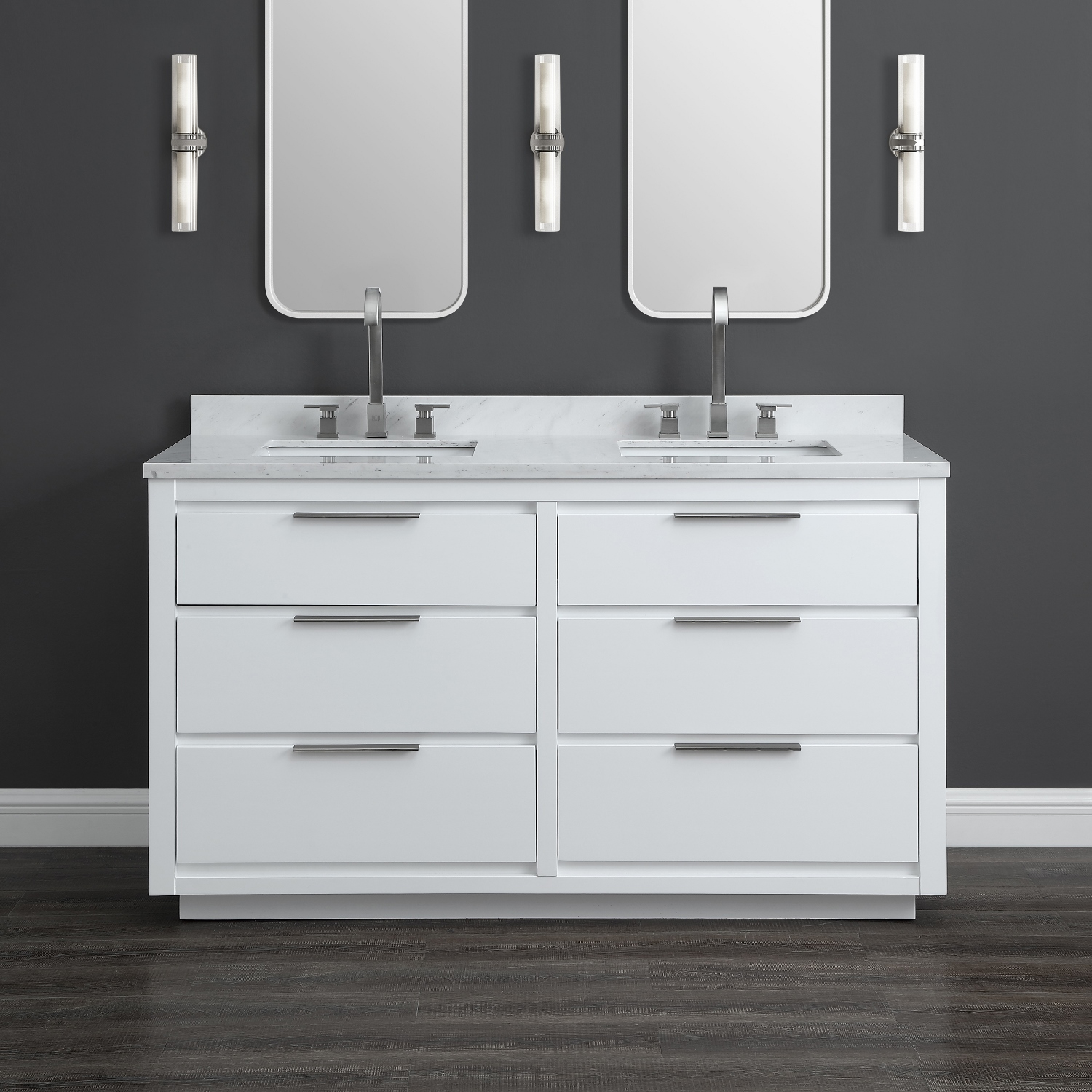 Midtown 60 white double sink vanity mission hills furniture - Bathroom vanities nebraska furniture mart ...