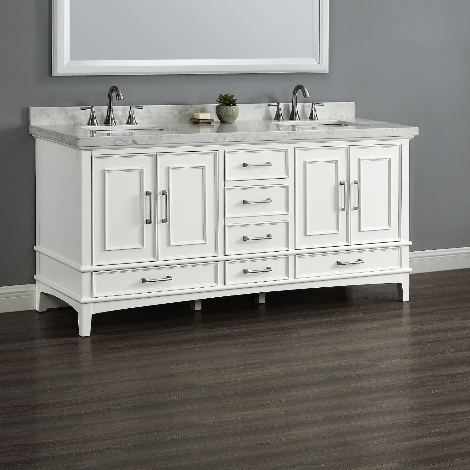 Parker 72 White Double Sink Vanity