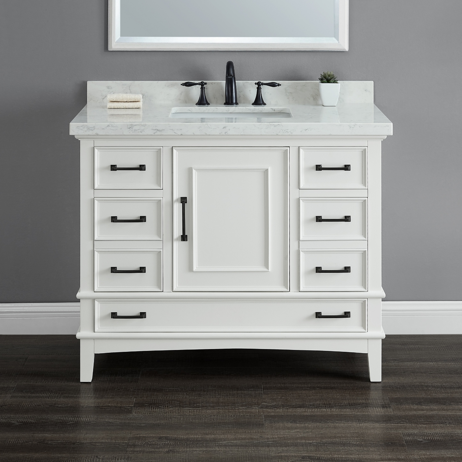 Parker 42 Quot White Single Sink Vanity Mission Hills Furniture