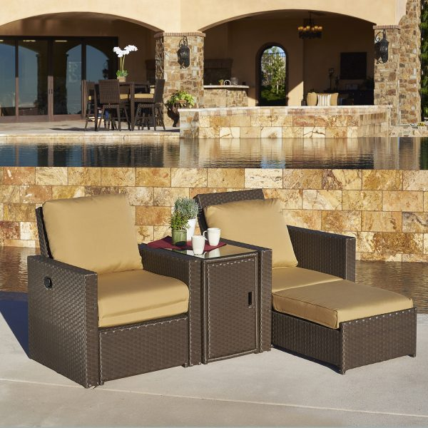 home outdoor furniture chat seating madrid 3pc recliner set