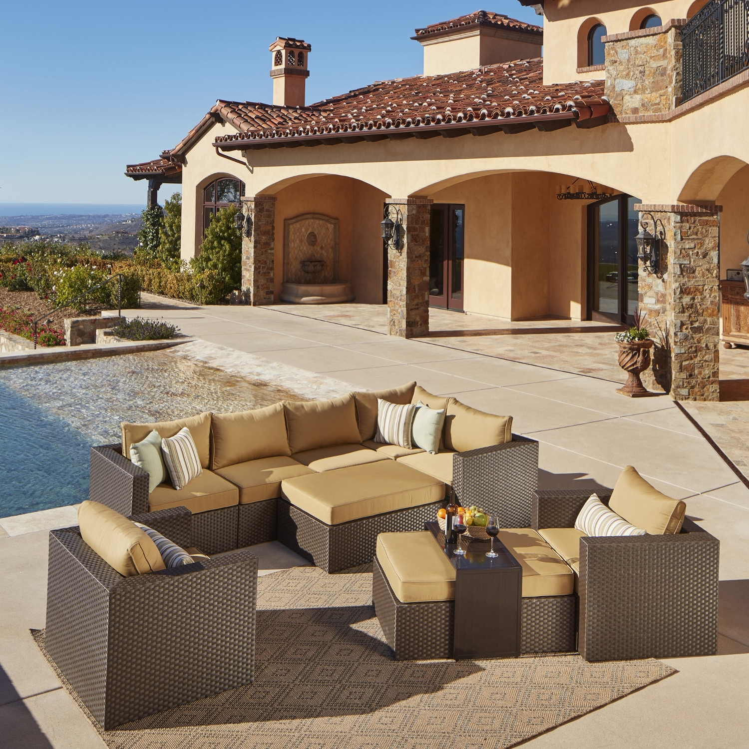 Madrid 9pc Deep Seating Collection Mission Hills Furniture