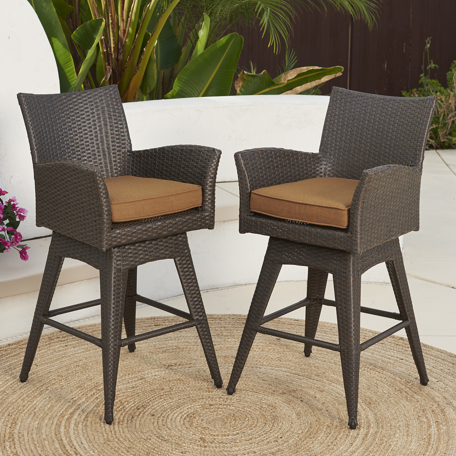 Magnificent Santa Fe 2Pk Swivel Barstools Canvas Teak Mission Hills Unemploymentrelief Wooden Chair Designs For Living Room Unemploymentrelieforg