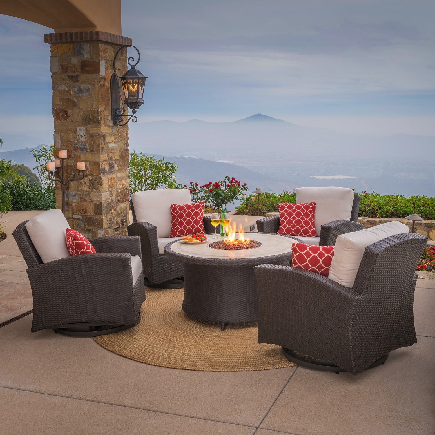 Santa Fe 5pc Motion Chat Set With Fire Table Mission Hills Furniture