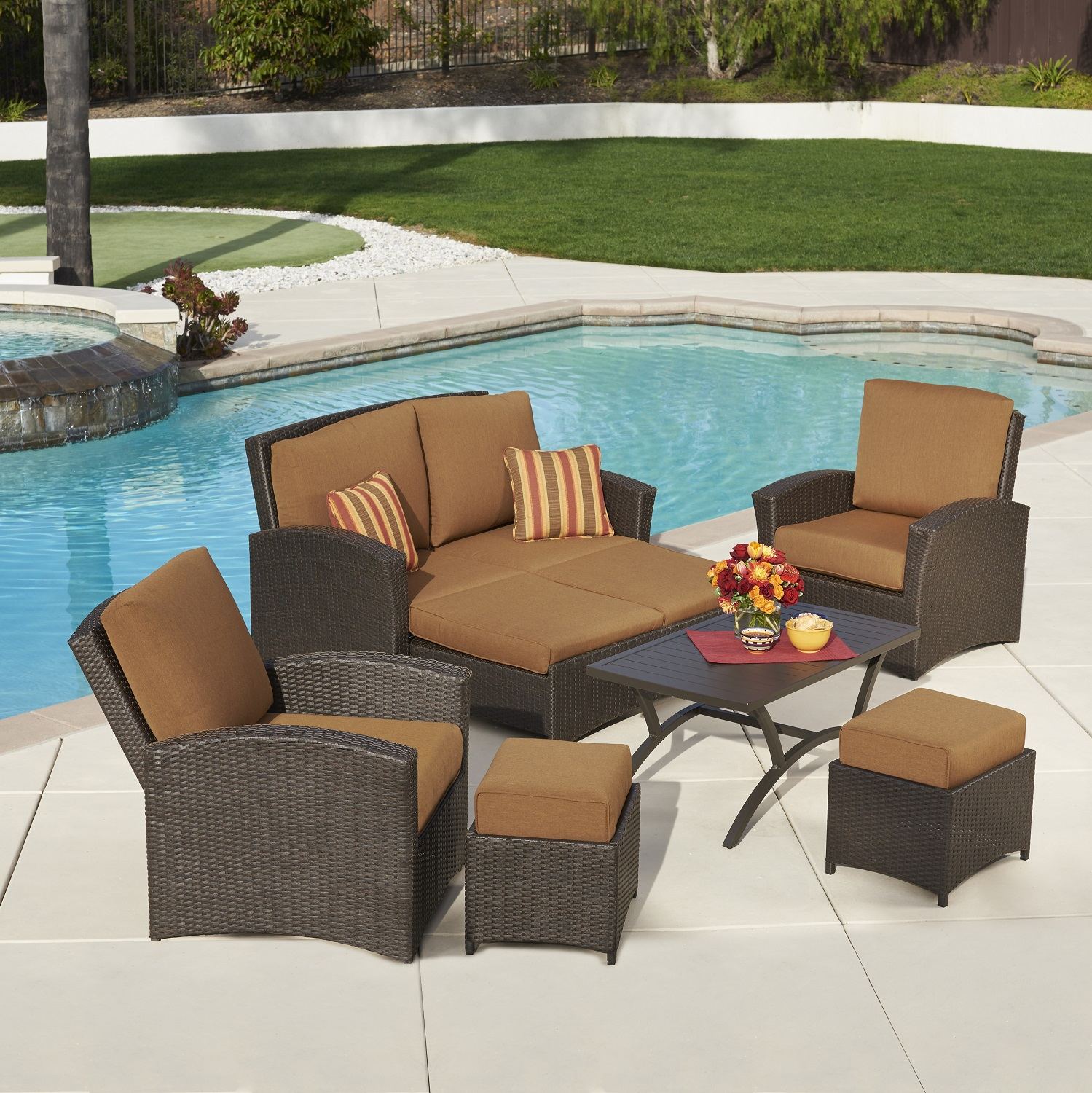 Santa Fe 6pc Deep Seating Collection Canvas Teak