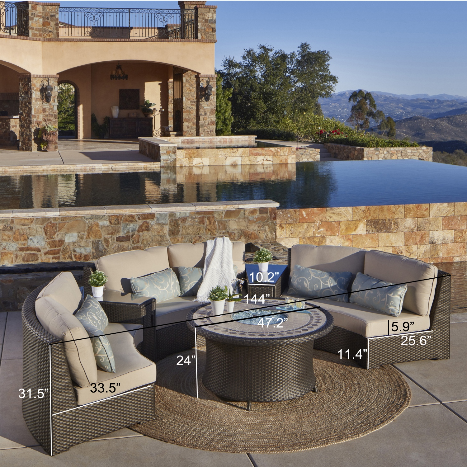 Sidney 6pc Deep Seating Sectional With Fire Table