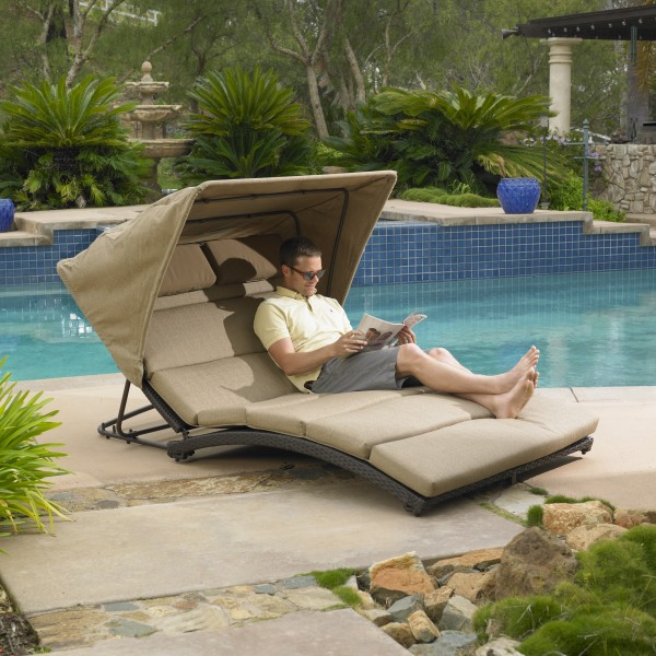 Oceanview Double Chaise Lounge with Canopy : double chaise lounge with canopy - Sectionals, Sofas & Couches