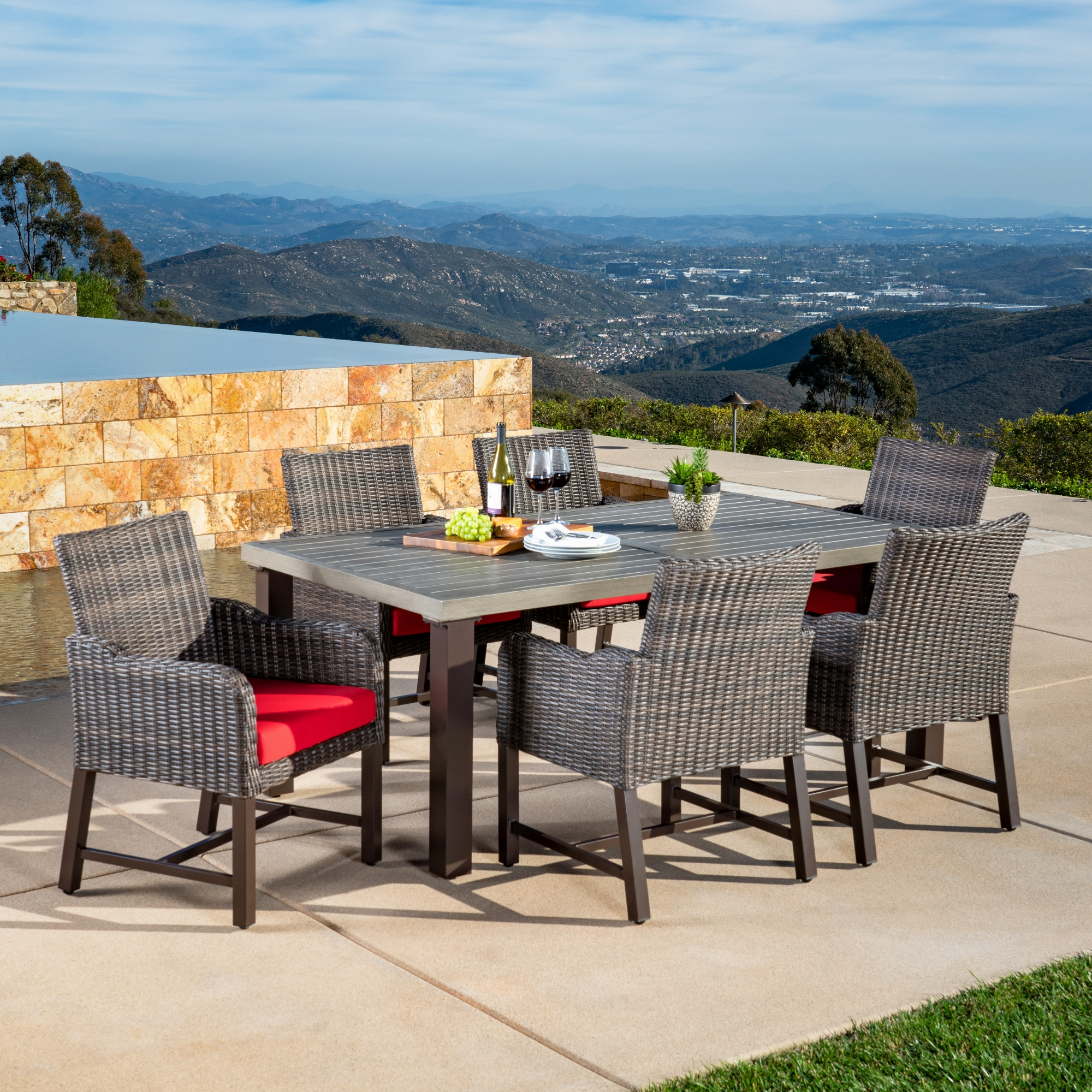 Brandemore 7pc Dining Collection Red Mission Hills